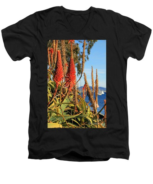 Aloe Vera Bloom Men's V-Neck T-Shirt by Mariola Bitner