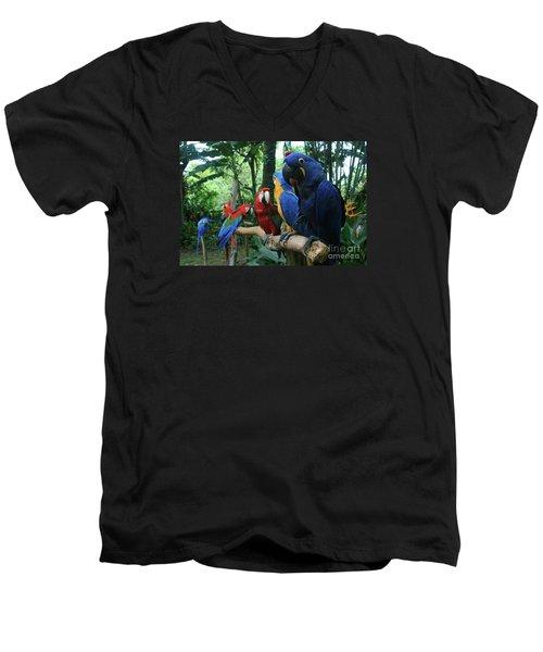 Aloha Kaua Aloha Mai No Aloha Aku Beautiful Macaw Men's V-Neck T-Shirt