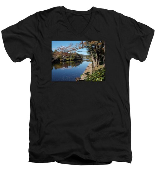 Along The River In Shelbourne Falls Men's V-Neck T-Shirt
