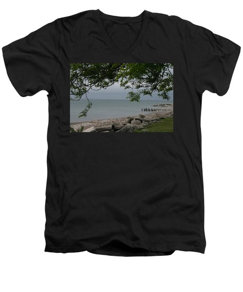 Men's V-Neck T-Shirt featuring the photograph Along The Shore by Kay Novy