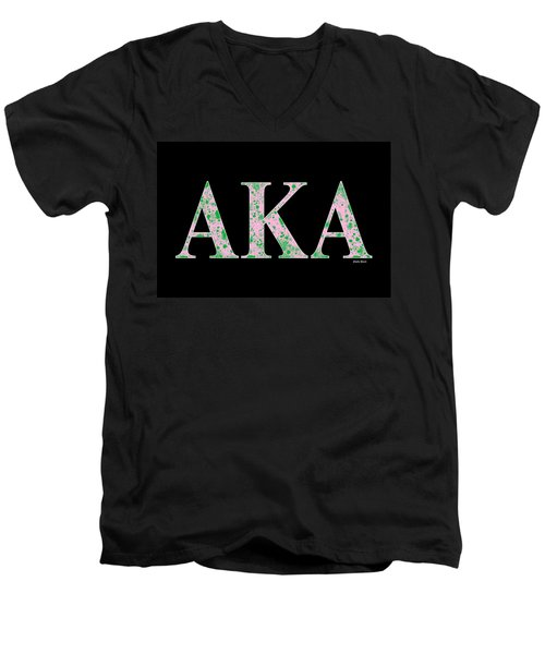 Men's V-Neck T-Shirt featuring the digital art Alpha Kappa Alpha - Black by Stephen Younts