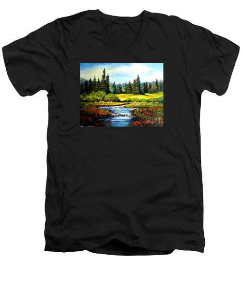 Alpine Meadow Men's V-Neck T-Shirt by Hazel Holland