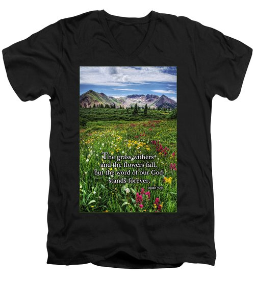 Men's V-Neck T-Shirt featuring the photograph Alpine Meadow by Priscilla Burgers