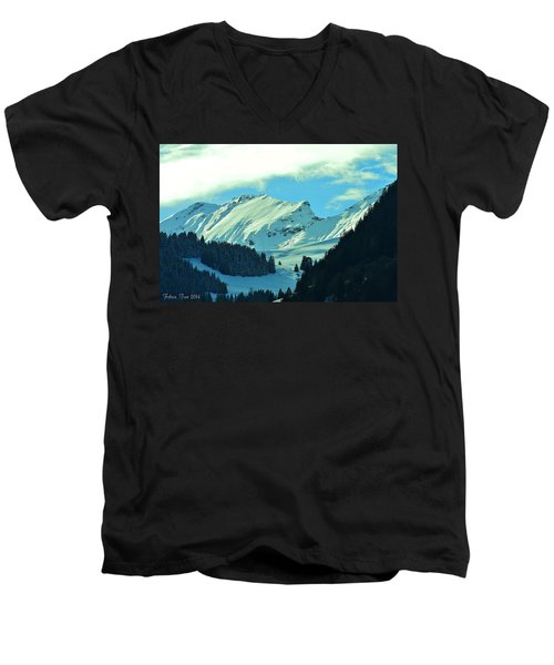 Alps Green Profile Men's V-Neck T-Shirt