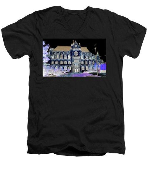 Altered Image Of Saint Eustache In Paris France Men's V-Neck T-Shirt by Richard Rosenshein