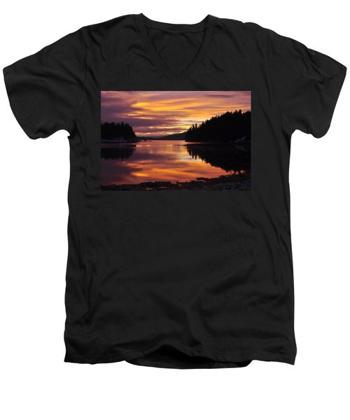 Amalga Harbor Sunset Men's V-Neck T-Shirt by Cathy Mahnke