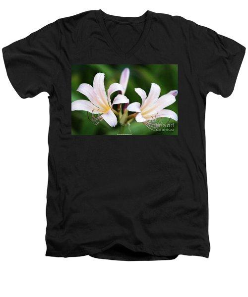 Amaryllis Belladonna Naked Ladies Men's V-Neck T-Shirt by PainterArtist FIN