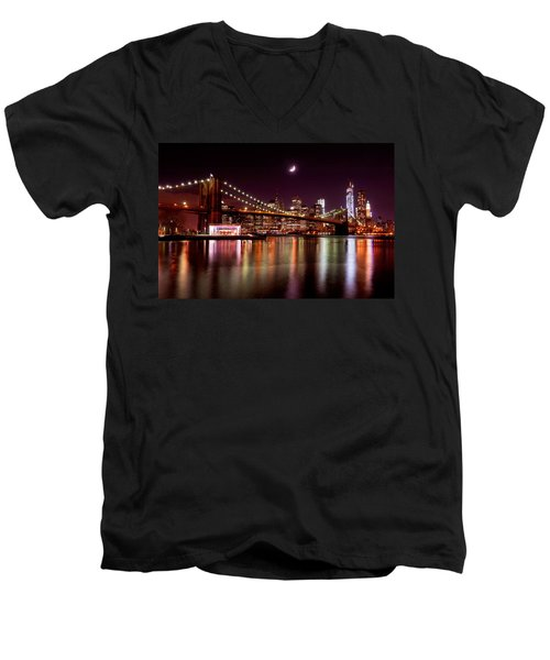 Men's V-Neck T-Shirt featuring the photograph Amazing New York Skyline And Brooklyn Bridge With Moon Rising by Mitchell R Grosky