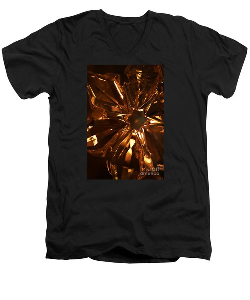 Men's V-Neck T-Shirt featuring the photograph Amber Crystal Snowflake by Linda Shafer