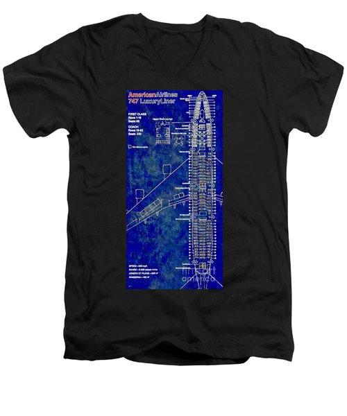 American Airlines 747 Men's V-Neck T-Shirt by Daniel Janda
