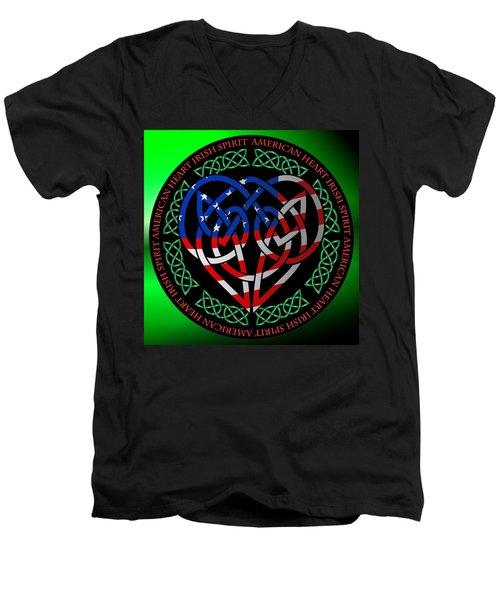 Men's V-Neck T-Shirt featuring the digital art American Celtic Heart by Ireland Calling