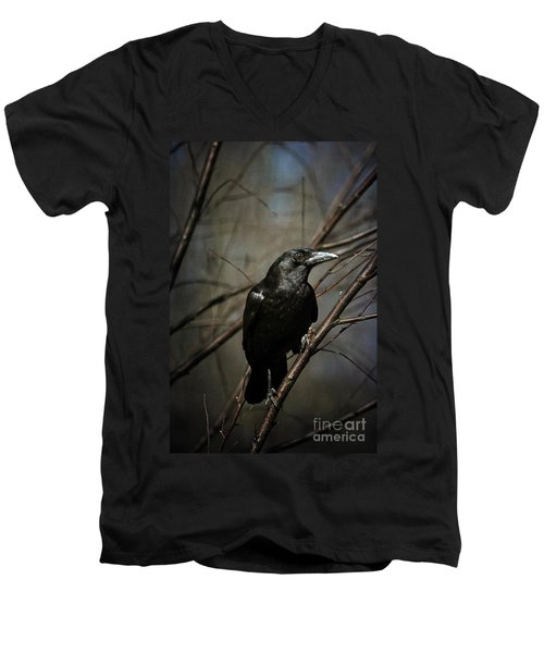 American Crow Men's V-Neck T-Shirt by Lois Bryan