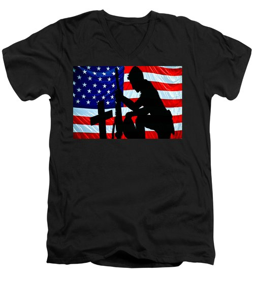 A Time To Remember American Flag At Rest Men's V-Neck T-Shirt