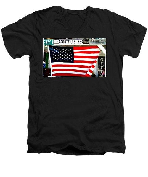 American Flag Route 66 Men's V-Neck T-Shirt