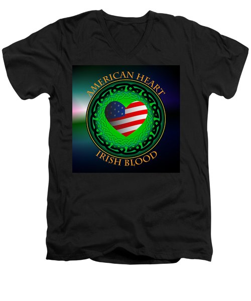 American Heart Irish Blood Men's V-Neck T-Shirt