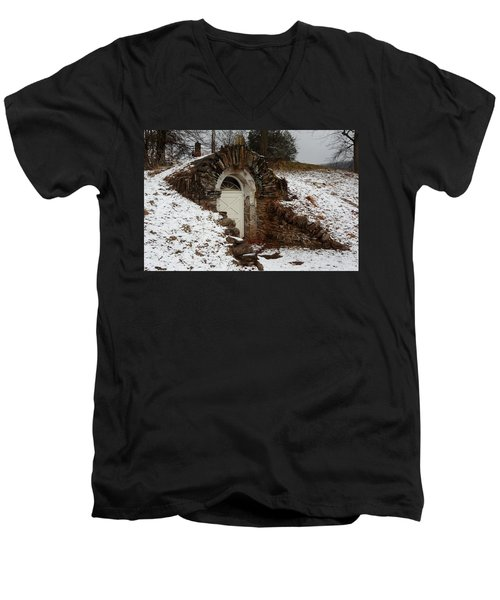 Men's V-Neck T-Shirt featuring the photograph American Hobbit Hole by Michael Porchik