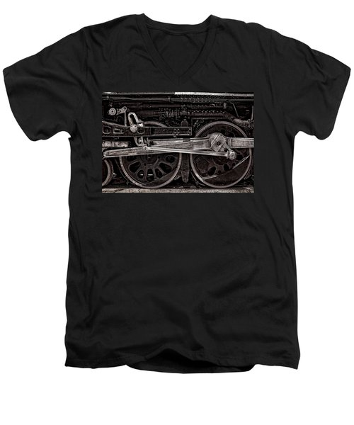Men's V-Neck T-Shirt featuring the photograph American Iron by Ken Smith
