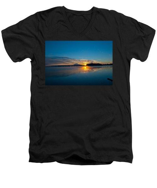 American Lake Sunrise Men's V-Neck T-Shirt by Tikvah's Hope