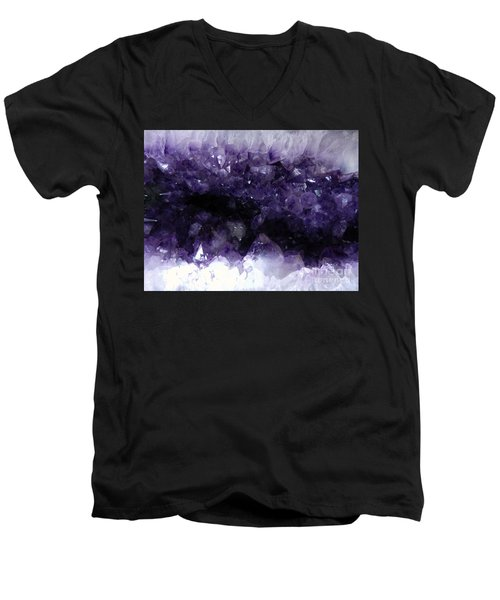 Amethyst Geode Men's V-Neck T-Shirt by Amar Sheow