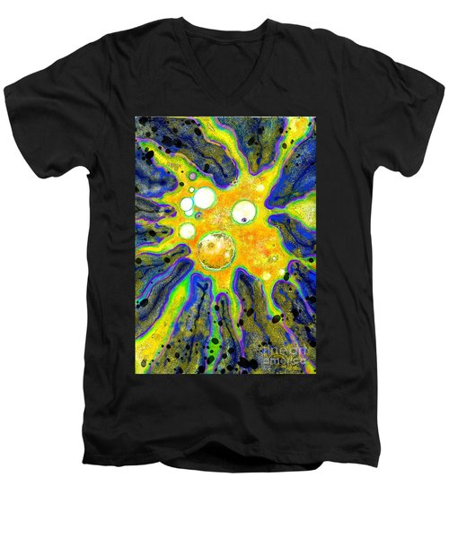 Men's V-Neck T-Shirt featuring the painting Amoeba Senescent by Carol Jacobs