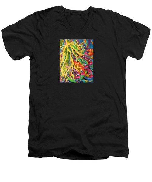 Amongst The Coral Men's V-Neck T-Shirt by Lyn Olsen