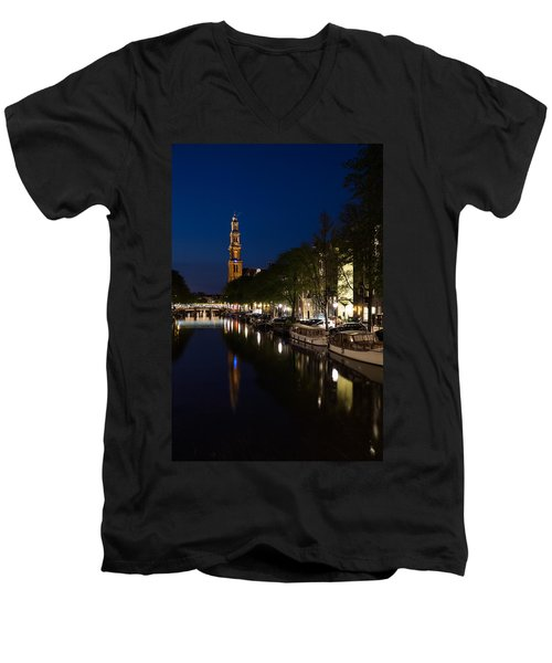 Men's V-Neck T-Shirt featuring the photograph Amsterdam Blue Hour by Georgia Mizuleva