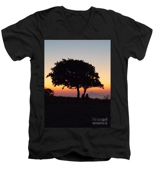 Men's V-Neck T-Shirt featuring the photograph An African Sunset by Vicki Spindler