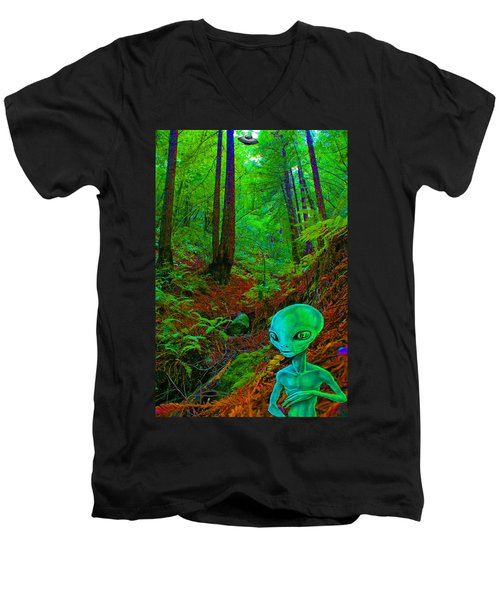 An Alien In A Cosmic Forest Of Time Men's V-Neck T-Shirt