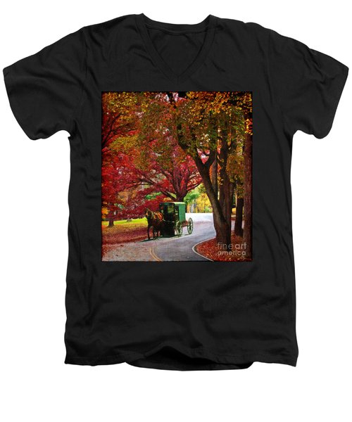 An Amish Autumn Ride Men's V-Neck T-Shirt by Lianne Schneider