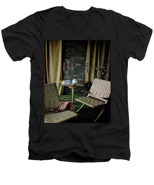 An Armchair Beside A Table And An Old Book Men's V-Neck T-Shirt