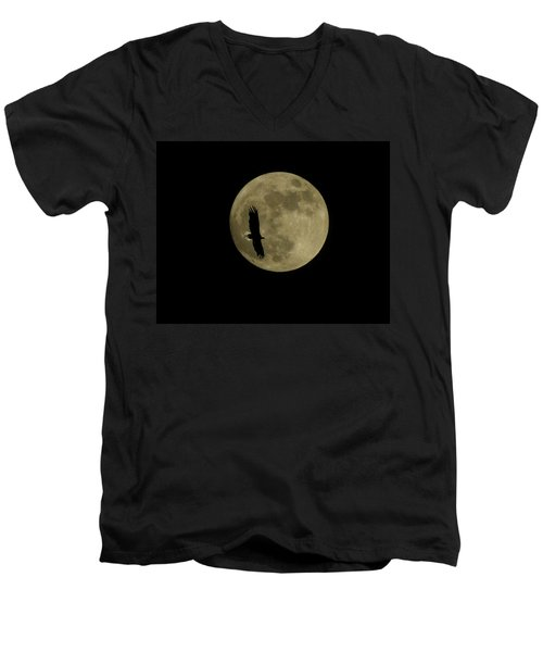 Men's V-Neck T-Shirt featuring the photograph An Eagle And The Moon by Mark Alan Perry