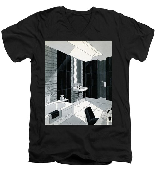 An Illustration Of A Bathroom Men's V-Neck T-Shirt