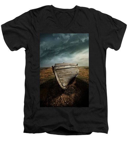 An Old Wreck On The Field. Dramatic Sky In The Background Men's V-Neck T-Shirt