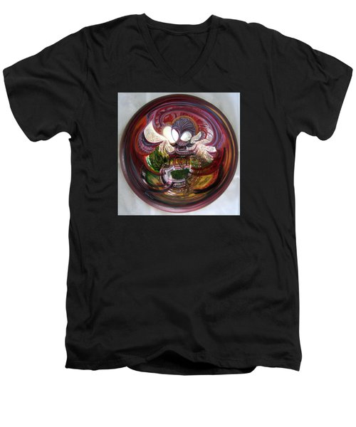 Anamorphic Chinese Pagoda Men's V-Neck T-Shirt by LaVonne Hand