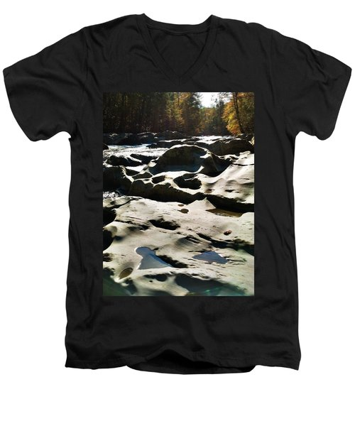 Men's V-Neck T-Shirt featuring the photograph Ancient River by Janice Spivey