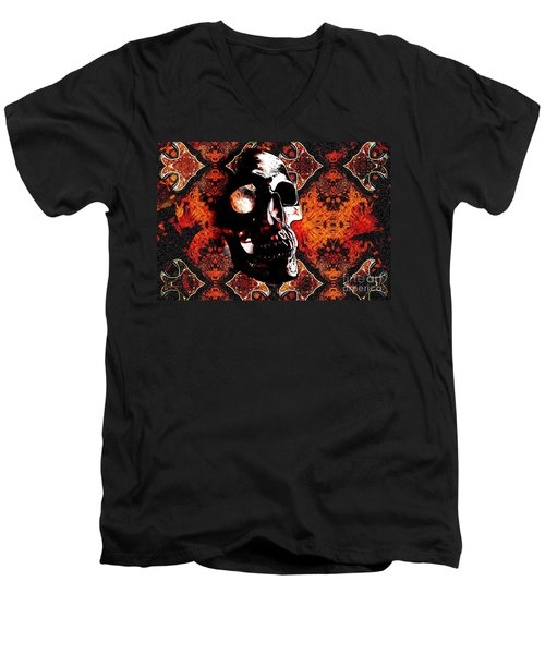 Men's V-Neck T-Shirt featuring the photograph Ancient Skull by Annie Zeno