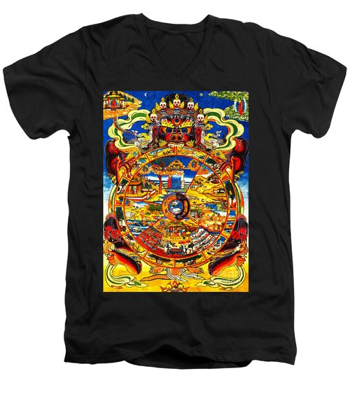 Ancient Tibetan Tangka Wheel Of Life Men's V-Neck T-Shirt