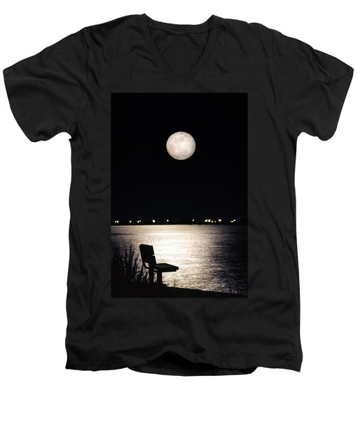And No One Was There - To See The Full Moon Over The Bay Men's V-Neck T-Shirt