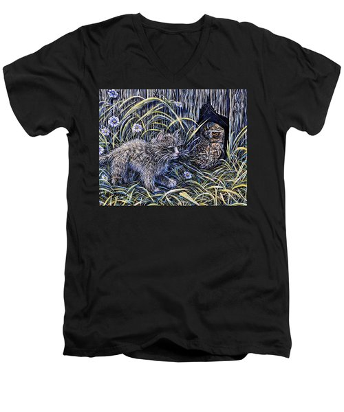 And The Grasshopper Says.. Owl Be Seeing U Men's V-Neck T-Shirt by Gail Butler