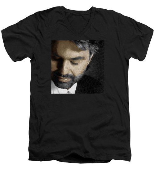 Andrea Bocelli And Square Men's V-Neck T-Shirt