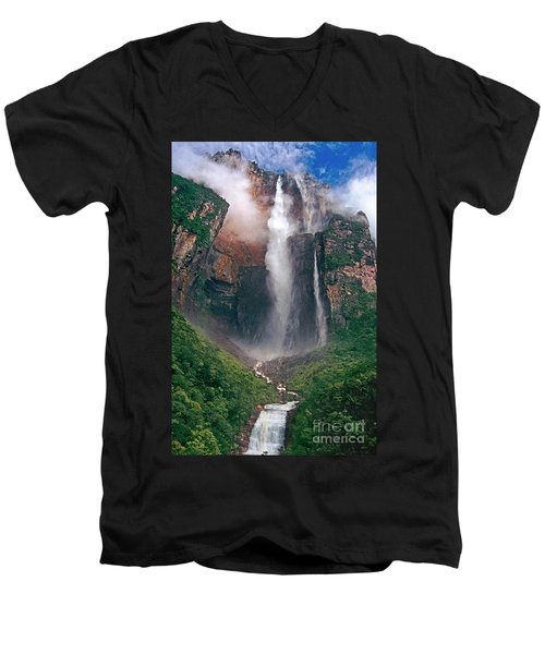 Men's V-Neck T-Shirt featuring the photograph Angel Falls In Venezuela by Dave Welling