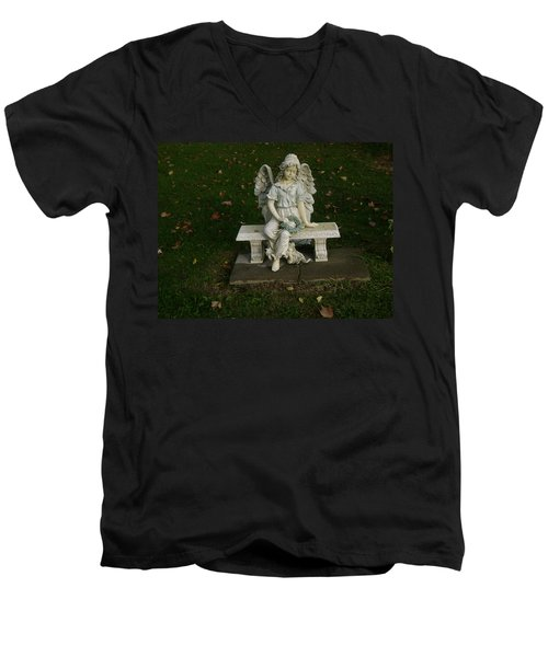 The Angel Is Watching Over Men's V-Neck T-Shirt