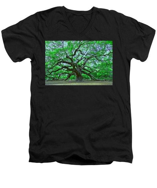 Angel Oak Men's V-Neck T-Shirt by Allen Beatty
