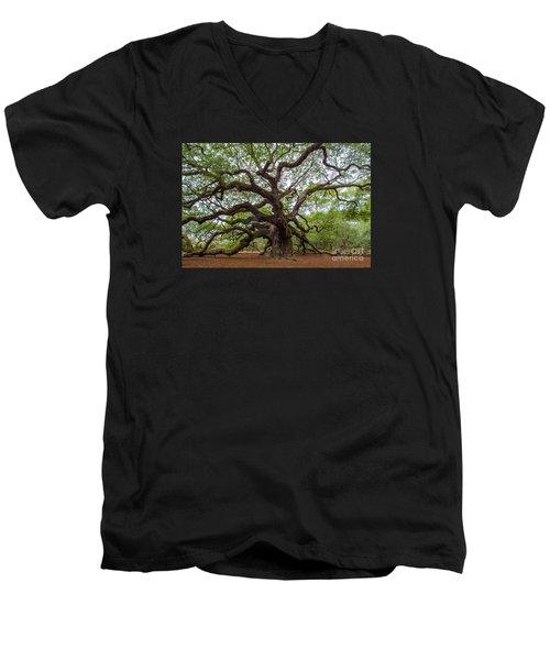 Angel Oak Tree Men's V-Neck T-Shirt by Dale Powell