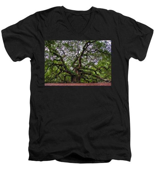 Angel Oak Tree Men's V-Neck T-Shirt by Douglas Stucky