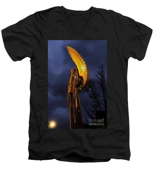 Angel Of The Morning Men's V-Neck T-Shirt by Steve Purnell