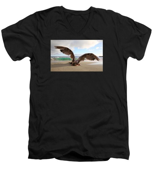 Angels- For The Lord Himself Will Descend From Heaven With A Shout Men's V-Neck T-Shirt