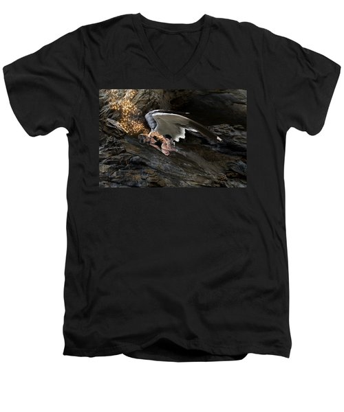 Angels- He Will Bring Peace To Your Heart Men's V-Neck T-Shirt