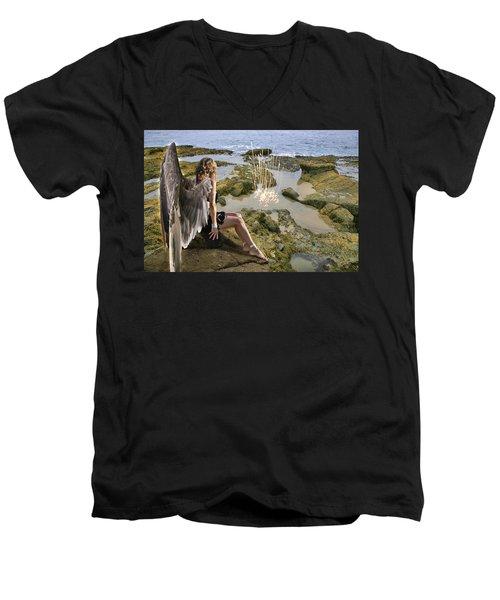 Angels- His Spirit Will Comfort You Men's V-Neck T-Shirt