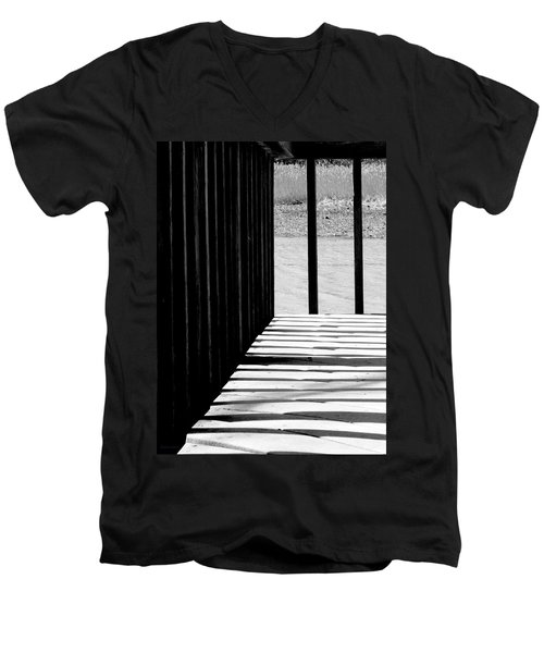 Men's V-Neck T-Shirt featuring the photograph Angles And Shadows - Black And White by Shawna Rowe
